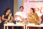 Educationist Dr. Wooday P. Krishna with noted Kannada Writer Dr. K. R. Sandya Reddy and Principal Prof. V. R. Bhargavi at the annual day celebrations of Seshadripuram Institute of Commerce & Management, Bengaluru, 2015.