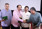 Educationist Dr. Wooday P. Krishna, Noted Film Maker Dr. Nagathihalli Chandrashekar, Prof. Kundagol, participating in the 'Bellitere-Bellimathu' program organized by Karnataka Chalanachitra Academy to preview on movie directed by Sri Shivanand Somappa entitled 'Arivina Mane', Bengaluru, 2016
