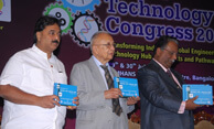 National President of Indian Institution of Production Engineers Dr. Wooday P. Krishna at the Indian Technology Congress, Bengaluru, 2015.  Also seen are former Pro-Vice Chancellor, Vellore Institute of Technology Dr. B. V. A. Rao and Vice-Chancellor, Visvesvaraya Technological University Dr. H. Maheshappa.