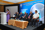Dr. B. Subhas, Vice-Chancellor, Vijayanagar Sri Krishnadevaraya University, Bellary; Dr. S. Narasinga Rao, Dean Emeritus, University of Central Oklahoma, USA; Dr. C. N. Krishna Reddy, President, Karnataka Private Post-Graduate Colleges� Association; Prof. B. Thimmegowda, Vice-Chancellor, Bengaluru University;  Dr. B. B. Kaliwal, Vice-Chancellor, Davangere University; Educationist Dr. Wooday P. Krishna, at Management Conclave � Institution Building with Emphasis on MBA & MCA, held at Bengaluru, January 2016.