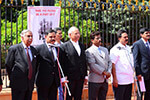 Judges, Lawyers, Law Teachers and Students assembled in front of High Court of Karnataka on 26-6-2016 to take a Pledge to secure to every citizens justice, liberty and equality. L-R: Former Chief Justice of India Former Justice M. N. Venkatachalaiah, Advocate General of Karnataka Madhusudan Naik, Educationist Dr. Wooday P. Krishna and others are seen.
