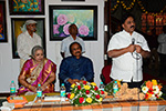 Educationist Dr. Wooday P. Krishna addressing the gathering as Chief Guest at the inaugural function of Smt. Vinaya Suvarna, Exhibition of Paintings at Venkatappa Art Gallery, Bengaluru, 2015.  Smt. Vinaya Suvarna, Shri Krishnappa Suvarna and Karnataka Chitrakala Parishat President and Former Chairman of Karnataka Legislative Council Dr. B. L. Shankar were present on the occasion.