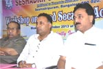 At a Workshop on Food Security Act, organized by Seshadripuram Law College, Bengaluru, on 21-10-2013. Seshadripuram Educational Trust President Shri N. R. Panditharadhya, Minister for Food and Civil Supplies, Govt. of Karnataka Shri Dinesh Gundu Rao, were present on the occasion.