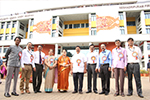 Educationist Dr. Wooday P. Krishna flanked by Principals of Colleges run by Seshadripuram Educational Trust L-R: Dr. R. D. Sathish, Dr. R. Manjunath, Prof. T. Doddegowda, Dr. Anuradha Roy, Prof. Chandrika Puranik, Dr.M. Prakash, Prof. G. K. Manjunath, Prof. P. Narayanaswamy and Prof. Santhosh Kumar N.