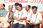Educationist Dr. Wooday P. Krishna along with Senior Advocate S. P. Shankar at the Independence Day celebration organized by Seshadripuram Group of Institutions, 2016. To him left is Chairman Governing Council of Seshadripuram Degree College, Mysuru B. A. Anantharam.