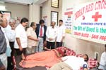 Shri B. S. Sathyanarayana (Katte), Mayor of Bengaluru, inaugurating Voluntary Blood Donation Camp organized by Seshadripuram Law College, Bengaluru, in association with Indian Red Cross Society, 10-11-2013.