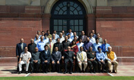 Group photograph of Central Committee Members of the Tuberculosis Association of India taken at Rashtrapati Bhavan, New Delhi, 2-10-2015 on the occasion of the release of TB Seals.  Dr. Wooday P. Krishna is seen standing 8th from left in the first row.