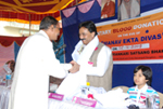 Being felicitated at a Blood Donation Camp.