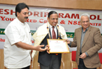 Felicitating Padma Bhushan Dr. S. P. Agarwal, Secretary General, Indian Red Cross Society, New Delhi at Seshadripuram College, Bengaluru.