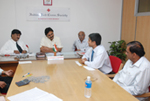 Holding discussions as Vice-Chairman of Indian Red Cross Society, Karnataka State Branch.