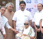 Honouring  Freedom Fighter and Gandhian Channamma Hallikeri on the occasion of 66th Independence Day celebrations organized by Seshadripuram Group of Institutions, Bengaluru.  Shri H. B. Dinesh, Secretary, Karnataka State Temperance Board was the Chief Guest.