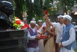 Offering floral tributes to the Bust of Mahatma Gandhi on the occasion of Gandhi Jayanthi, 2012.
